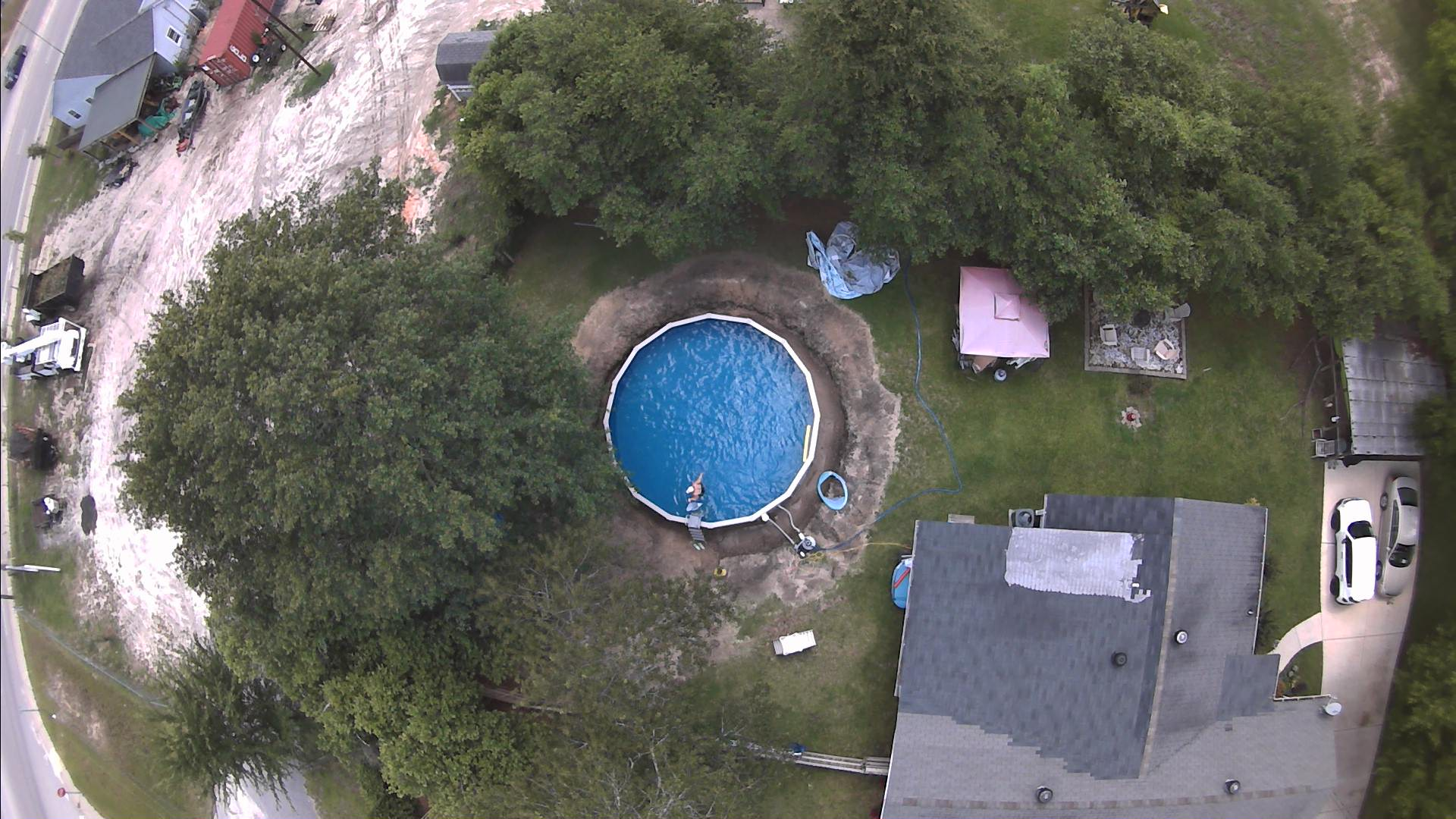 Drone Sky View of Swimming Pool