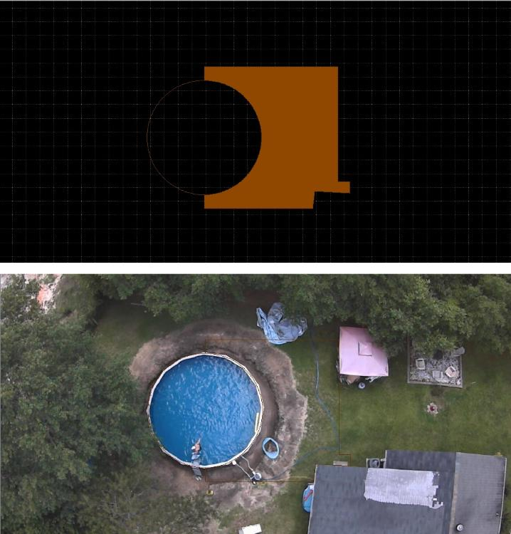 Deck outline with solid color fill that disappears when backyard photo is visible